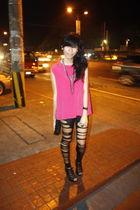 pink Thrift Store top - black Peace Love Fashion leggings - black Mango accessor