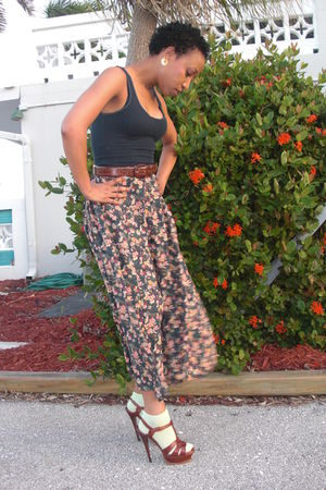 thrifted shirt - thrifted skirt - liz claiborne belt - brown YSL shoes