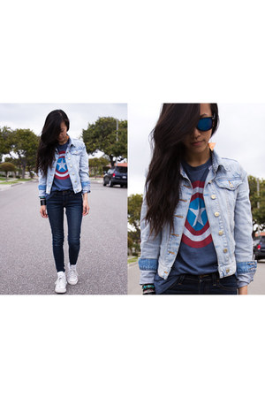 sky blue jacket - white shoes - navy jeans - ruby red shirt