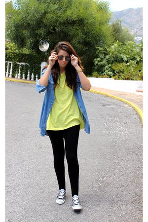yellow H&M shirt - black Stradivarius leggings - black Converse shoes - blue Vin