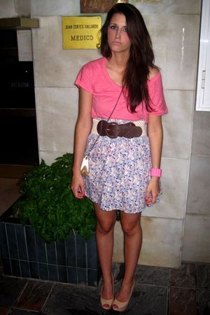 beige Zara shoes - pink Zara shirt - beige Telva purse - brown Stradivarius belt