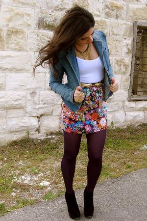 blue denim Juicy Couture jacket - black Topshop shoes - white Topshop shirt