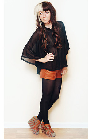 brown strappy Jeffrey Campbell wedges - black opaque H&M tights
