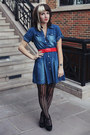 Blue-denim-thrifted-dress-black-urban-outfitters-tights