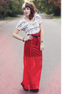 Red-sheer-urban-outfitters-dress-white-printed-diy-shirt