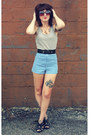Blue-striped-thrifted-shorts-claires-sunglasses
