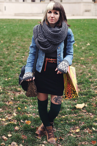 dark brown leopard print Mossimo bag - brown lace up Urban Outfitters boots