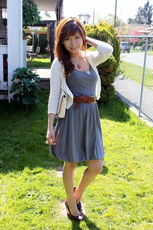 gray Heritage dress - beige Heritage cardigan - brown H&M shoes - beige hello ki