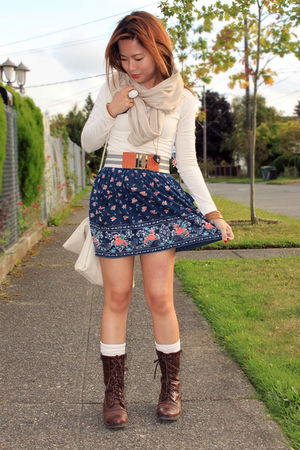 blue Forever 21 skirt - beige H&amp;M scarf - brown Forever 21 shoes