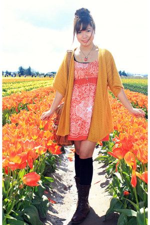 mustard H&M cardigan - orange Forever 21 dress