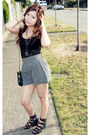 Black-urban-outfitters-shorts-black-forever21-top-black-chanel-purse-black