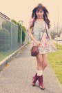 Brick-red-thrifted-boots-pink-forever-21-dress-blue-h-m-vest