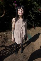 beige H&M dress - black Urban Outfitters shoes - black American Apparel tights