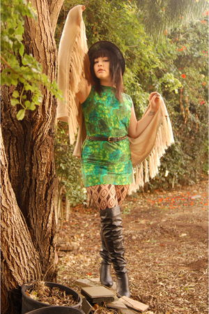beige Lovely Girl sweater - green vintage dress - black Qupid boots - black Urba