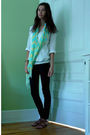 White-jcrew-blouse-white-american-apparel-top-black-forever-21-jeans-brown