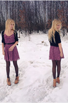 mustard ryłko boots - purple H&M dress - black house sweater