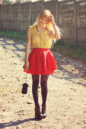 VANCL shirt - Joanna Hawrot bag - VANCL bracelet - VANCL skirt - deezee heels
