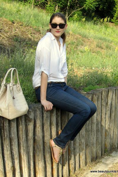 white Stradivarius shirt - Furla bag