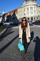 beige Zara coat - sky blue Anna Dello Russo x H&M bag - blue H&M necklace