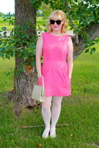 hot pink cotton Emily and Fin dress - ivory t-strap Chelsea Crew heels