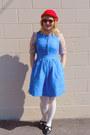 Ruby-red-wool-h-m-hat-sky-blue-pinafore-jcrew-dress