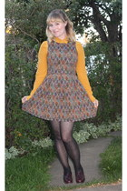 carrot orange brocade Dahlia dress - gold silk Joe Fresh blouse