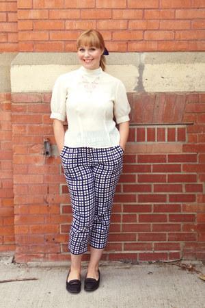 blue plaid cotton People Tree pants - white lace vintage blouse
