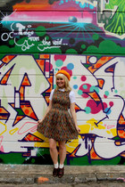 tapestry Dahlia dress - wool beret vintage hat - brogue Thrifted Clarks heels