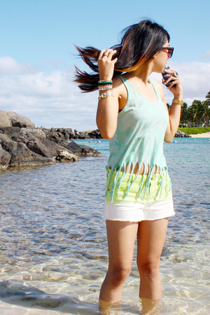 ombre Forever21 shorts - 80s purple sunglasses - fringe Forever21 top