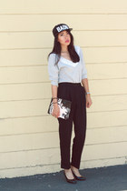 black sp badu hat - black clutch asos bag - heather gray Urban Outfitters top