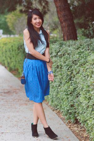 blue liz claiborne skirt - black Dolce Vita boots - navy vintage Esprit purse