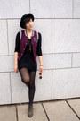 Black-ebay-shoes-black-h-m-dress-black-h-m-hat-maroon-gate-vest