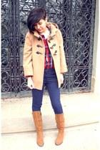 camel Orsay coat - tawny Gate boots - red Topshop shirt - navy H&M pants