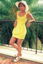 yellow Zara dress - eggshell unknown brand hat - eggshell unknown brand wedges