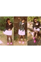 hot pink Zara flats - black Pimkie jacket - white designed by myself skirt