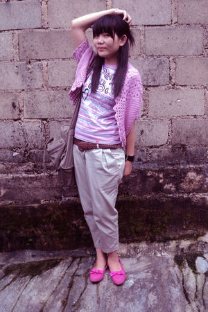 pink fler jacket - purple spiderbilt t-shirt - beige iconia pants - pink wonders