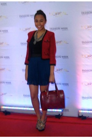blue Forever 21 skirt - red Topshop blazer - red Cartier bag