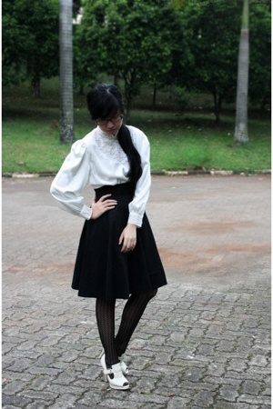 thrifted blouse - thrifted skirt - Forever21 stockings - Forever21 shoes