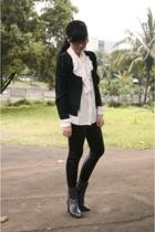 thrifted blazer - thrifted blouse - ebaycom leggings - mi-casa-su-casa shoes