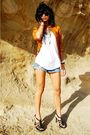 Brown-bebe-jacket-white-forever21-top-blue-forever21-shorts-black-unknown-