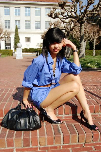 blue thrift dress - brown Old Navy belt - black DSW shoes - black thrift purse -