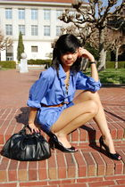 blue thrift dress - brown Old Navy belt - black DSW shoes - black thrift purse -