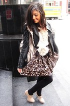 black danier jacket - beige Aldo heels - ivory H&M blouse - light brown winners