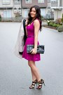 Hot-pink-guess-dress-white-studio-h-m-blazer-black-leopard-guess-heels