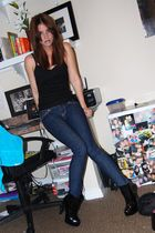 black Urban Outfitters top - blue Henri Girl jeans - black Bebe shoes