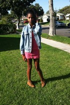 hot pink denim dress - bronze Timberland boots - sky blue denim jacket