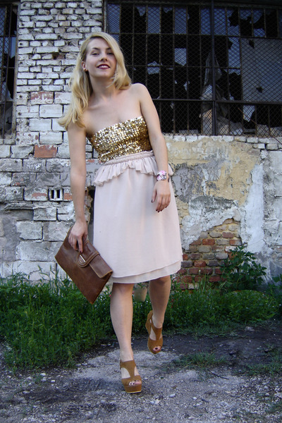 nude glitter top Vera Mont top - brown 2nd Hand bag - light pink Zara skirt