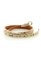 Ethnic Vintage Tinny Flowers Skinny Leather Belt for Women