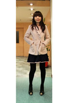 pink coat - black dress - brown shoes