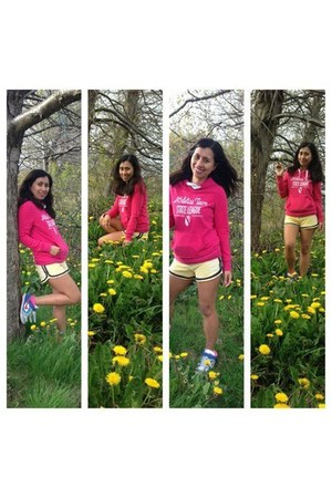 hot pink Primark hoodie - nike shoes - light yellow SoulCal shorts